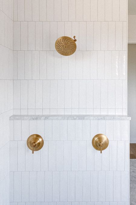 Primary suite, master bath, brass plumbing, moen, brushed gold, rain shower