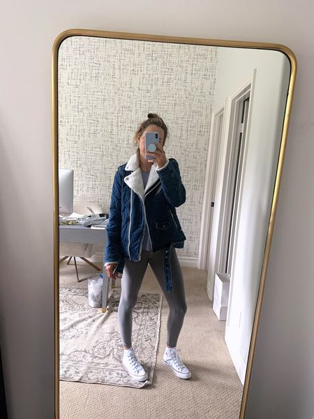 I feel like I might be watching too much tiktok and it's starting to show in my outfits. ✨   Jacket is a dream 💭 and I'm obsessed. And more jealous than ever to those of you that live somewhere that it actually gets cold. Wearing a M. ✨ I tried these leggings in blue and didn't love but ❤️ this shadow grey, currently on sale for $69, which is still kind of 🧐 when I'm still not sure if leggings are pants, all these years, and hundreds of dollars later. ✨ honestly, I took this picture for my alter egos (saved to my Highlights where I make fun of my own outfits) but it felt cool. Might delete later.    #LTKsalealert #LTKunder100 #LTKfit