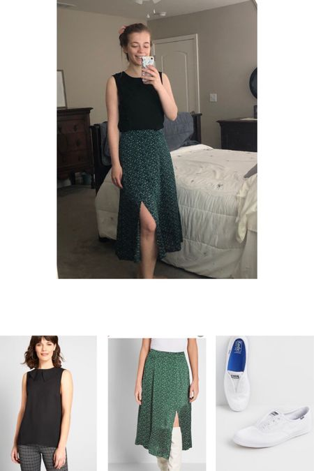 Green skirt with side slip paired with a black collared top and keds. Skirt is 50% off  http://liketk.it/2SxnN #liketkit @liketoknow.it