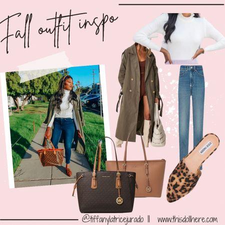 Fall fashion, coats, sweater, jeans, mules, slides, trench coat  #LTKSeasonal #LTKunder100 #LTKstyletip
