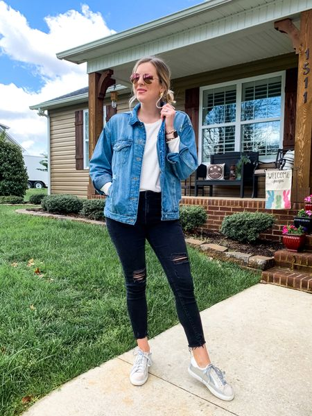 Oversized denim jacket paired with a ribbed tee and black distressed jeans and silver star sneakers. Everything true to size and under $50!  #LTKunder50 #LTKSeasonal #LTKstyletip