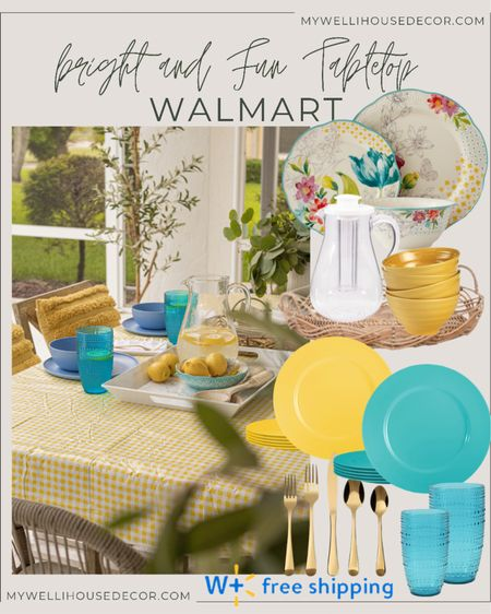 #AD Walmart  Bring summer colors to your dinner table with this bright and fun tabletop!  Dining table, dinnerware, serveware, patio, outdoor, olive tree, table set, dining chair, decorative pillows  #LTKsalealert #LTKhome #LTKSeasonal