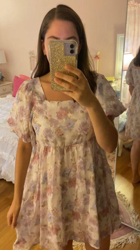 Try on haul, chicwish, bridgerton, baby doll dress, romantic dress, floral dress, puff sleeves   #LTKbacktoschool #LTKunder50 #LTKfit