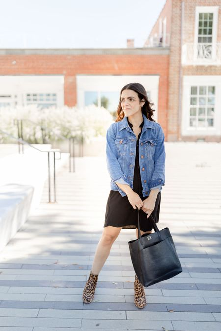 One of my favorite outfits for Fall - black shirt dress, denim jacket, leopard booties, black tote   #LTKstyletip