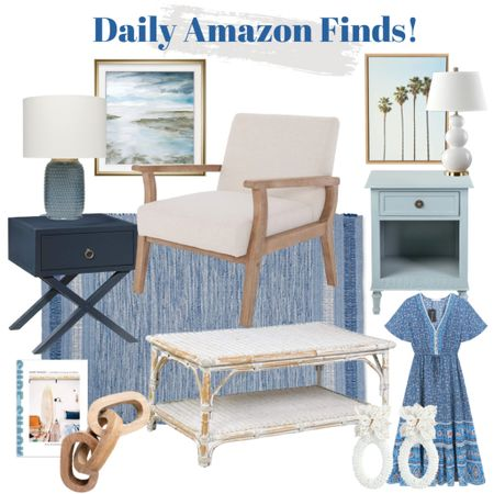 Coastal decor and fashion in today's daily Amazon finds!   Blue rug, blue side table, white lamp, blue lamp, coastal artwork, chain link, coffee table book, summer dress, white beaded earrings, armchair, coffee table   #LTKstyletip #LTKunder100 #LTKhome
