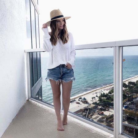 A lightweight summer sweater & cutoffs is my go-to look always! I've had these shorts for two years now and they're my absolute favorite pair. I also found two of the best sweaters that are perfect for this transitional weather (or, in this case, as a coverup at the beach)! One is on sale for $23 and the other is $35! http://liketk.it/2AQzV #liketkit @liketoknow.it