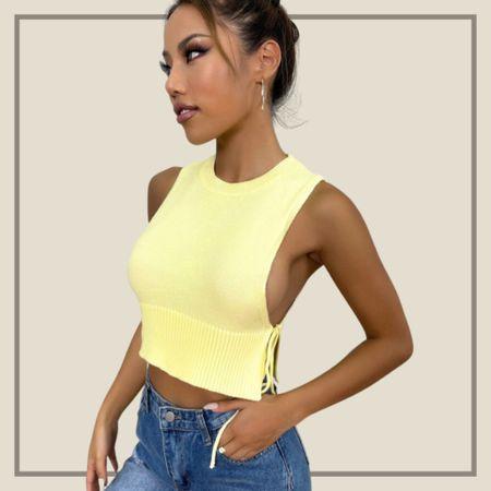 Round neck knot detail sweater crop top  #LTKunder50 #LTKstyletip #LTKunder100