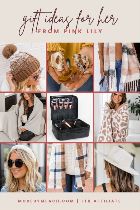 Great Christmas gift ideas for her - or birthday gift ideas for her - from Pink Lily!! 🤍 || plaid scarf, pom beanie, hair accessories, makeup bag, cozy chic blanket, wide brim hat, fuzzy blanket, headband  #LTKSale   #LTKHoliday #LTKsalealert #LTKSeasonal