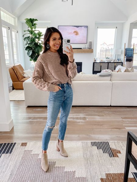 Fall outfit with a cable knit sweater on sale as part of the LTK sale! Wearing size XS and it fits true to size. Pairing with high rise curve love skinny jeans perfect for fall. Wearing size 000 short.   #LTKsalealert #LTKSale #LTKunder100