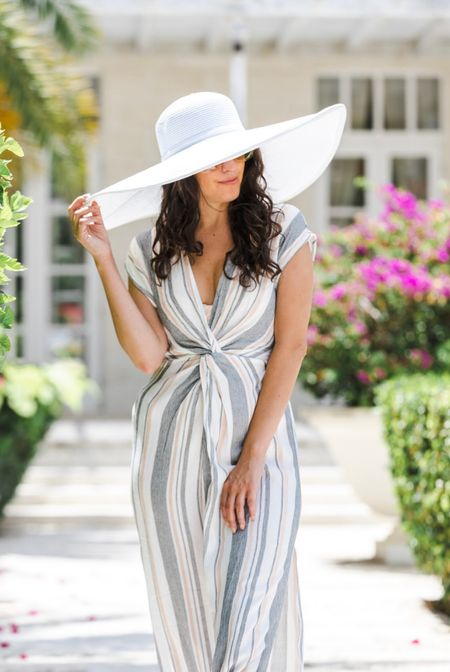 Big floppy hats to protect you from the sun styled with a linen maxi dress is perfect resort wear ✨  #LTKunder100 #LTKtravel #LTKSeasonal