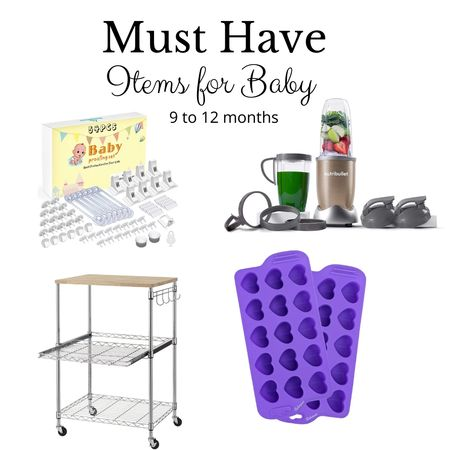 Our 10-month old is super active and busy these days! Here are the items we've using for her now!   1. Definitely a baby proofing kit as she wants to touch EVERYTHING!  2. This Nutribullet is awesome for het homemade meals. 3. This storage cart is my fave. We use it for storing her bottles, jars of baby formula amd food and her bibs 4. The heart-shaped silicone ice tray helps us make snack time fun by giving her heart-shaped frozen treats http://liketk.it/38hEf @liketoknow.it #liketkit