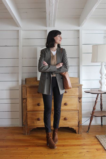 A recent look on the Style Journal. Opened up my corporate capsule for the week!  Blazer - Reformation- old fabric new version and similar options linked  Vest - Oak & Fort Pants / Boots - Old, similar linked  Tote - old  Tee - Everlane (a personal favourite)    #LTKSeasonal #LTKworkwear