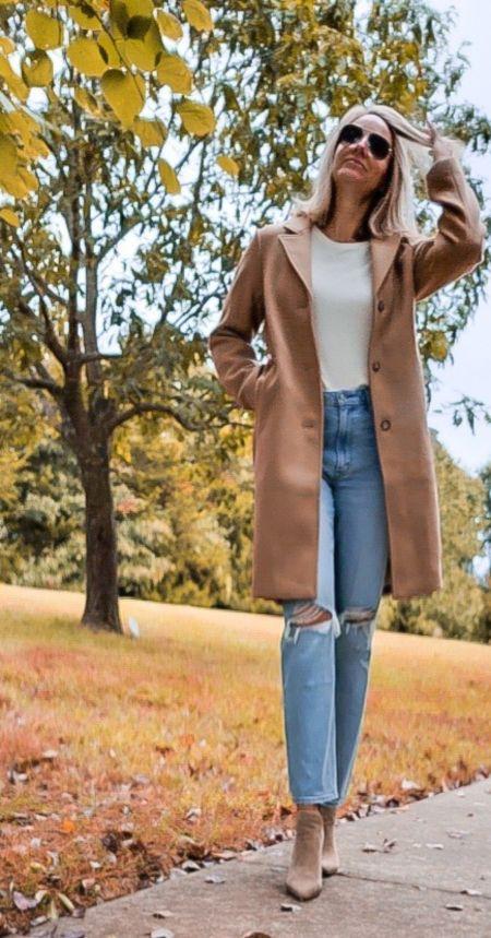Abercrombie Style | wool trench coat | mom jeans | Booties | Fall fashion #ltkstyle #ltkshoecrush #ltkseasonal