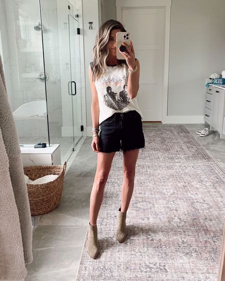 Walmart graphic tee and Walmart black shorts.  Code JEN15 on these booties    http://liketk.it/3h36T @liketoknow.it #liketkit #LTKtravel #LTKstyletip #LTKshoecrush