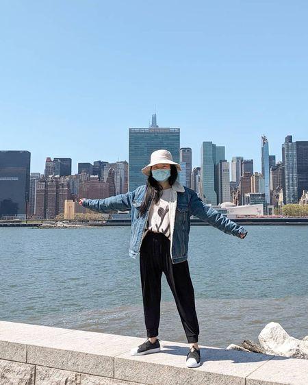 Men's denim jacket, slip on sneakers, bucket hat  #LTKunder100 #LTKstyletip #LTKshoecrush
