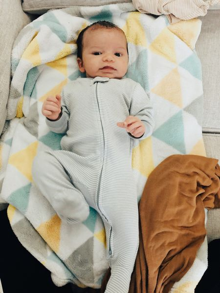 Carter's newborn sleepers with a double zipper for an easy access for diaper changes. #carters #babyboy #sleepers  #LTKkids #LTKbaby #LTKfamily