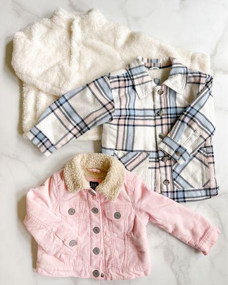 Cute jacket found up for toddler girls. Girl fashion family picture girl jacket shearling jacket pink jacket plaid jacket fur jacket  #LTKunder50 #LTKbeauty #LTKkids