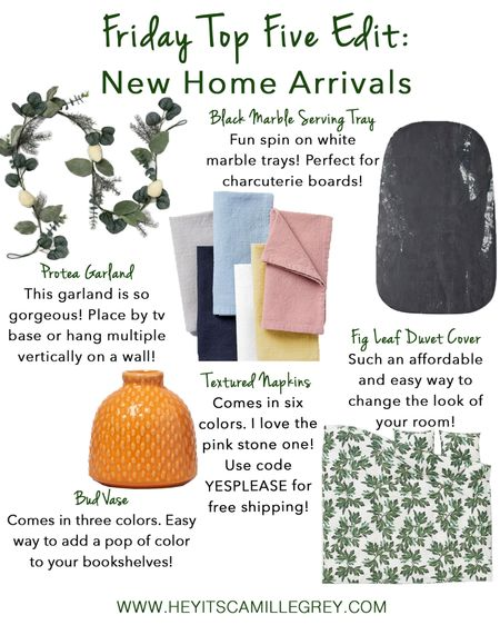 Target Bud Vase-I love tiny vases like these ones for a tiny pop of color on the bookshelves! You can add faux plants or a couple steps of flowers. Comes in 3 different colors.  Target Protea Garland-I love how simple this garland is! This would look gorgeous along a tv base or multiple hanging vertical on a wall.   H&M Black Marble Serving Tray-The black color is such a fun switch up from the typical white marble. Perfect for charcuterie boards!  West Elm Textured Cotton Napkins-Comes in six colors and in a set of four.Use code YESPLEASE for free shipping!  H&M Fig Leaf Duvet Cover-This duvet color is so gorgeous! This is also such an easy way to completely change your bedroom up without spending a ton of money.  http://liketk.it/2DSX6 #liketkit @liketoknow.it #LTKspring #LTKunder50 #LTKunder100 #LTKsalealert #LTKhome @liketoknow.it.home
