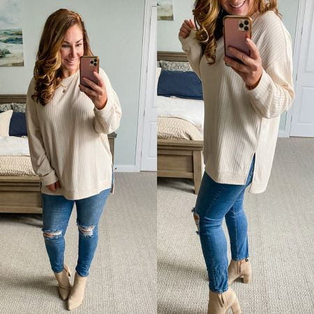 Evereve new arrivals  waffle tunic size down if inbetween in a L but could do a medium// jeans tts // booties size up 1/2   #LTKstyletip #LTKshoecrush #LTKcurves