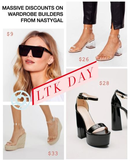 LTKDAY is June 11-14 and NastyGal is included! These are my favorite pieces - I have the velvet version of these black pumps and I wear them with my La Vie Style House dress. The clear shoes are just good to have as they go with anything and everything- they are my backup shoes when nothing matches.    #LTKDay #LTKshoecrush #LTKunder50