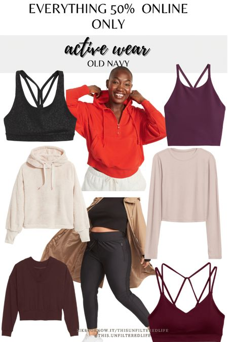 Old navy active wear. Everything is 50% off when you shop online- YES EVERYTHING! These are a few of my favorites. #activewear #sportsbra #leggings #midsize   #LTKsalealert #LTKSeasonal #LTKcurves