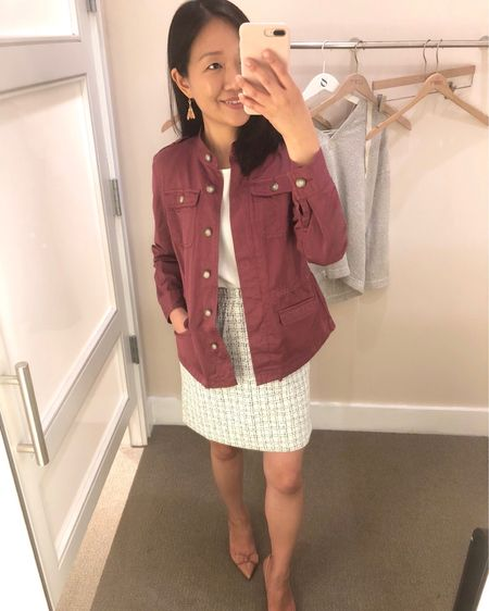 """This jacket is my usual size XSP which is a relaxed fit. Skirt and top underneath are both size XXSP but they fit like size XSP. Please see my previous post to this picture regarding the top and skirt. For reference I am 5' 2.5"""" and 106.5 pounds. @liketoknow.it http://liketk.it/2wTuc #liketkit #LTKsalealert #LTKstyletip #LTKunder50 #LTKunder100"""