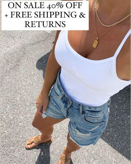 Boyfriend shorts size 24 White cami  Tan Tory Burch miller sandals size 7  #laurabeverlin #nsale #outfit  #LTKsalealert #LTKunder100 #LTKunder50