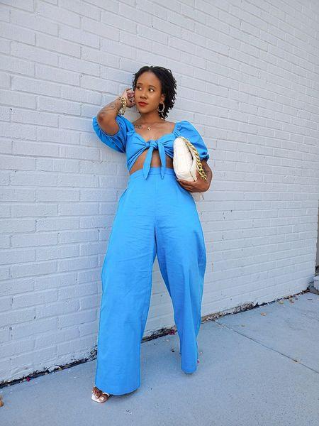 Blue  two piece set  shein  pants  wide leg  puff sleeve  balloon sleeve  crop top  tie front top  matching set  co-ord set   #LTKunder50 #LTKunder100 #LTKsalealert