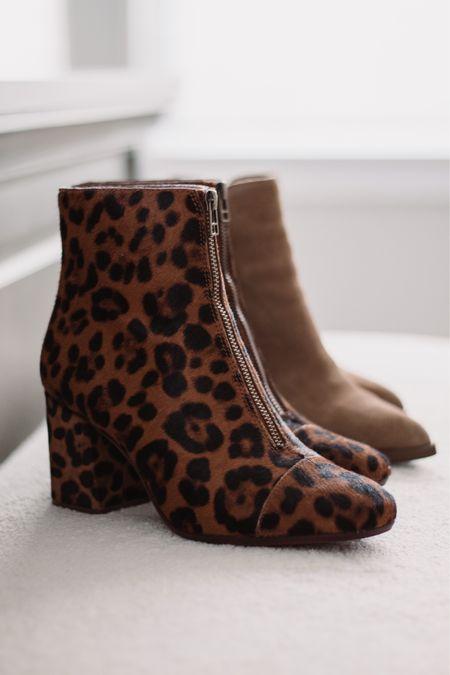 Leopard ankle boots, tan suede ankle boots   #LTKshoecrush #LTKSeasonal