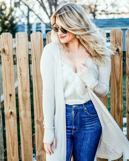 Winning combo: a silky bodysuit and a longline cardigan. All on sale! 🙏 The #bodysuit fits true to size and will be great with cutoff shorts come summer. Wearing it now with jeans and my comfiest joggers to jazz up my loungewear vibe. #liketkit @liketoknow.it http://liketk.it/2KOk5 #neutrals #outfitideas #whatimwearing