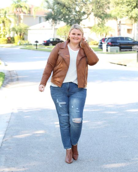 Leather-like moto jacket is stretchy and comfy! Wearing the XL, fits true to size. Striped long sleeve tee is true to size and roomy and so soft. Distressed mom jeans are high waisted. Size down if in between sizes.   #LTKSeasonal #LTKcurves #LTKunder50