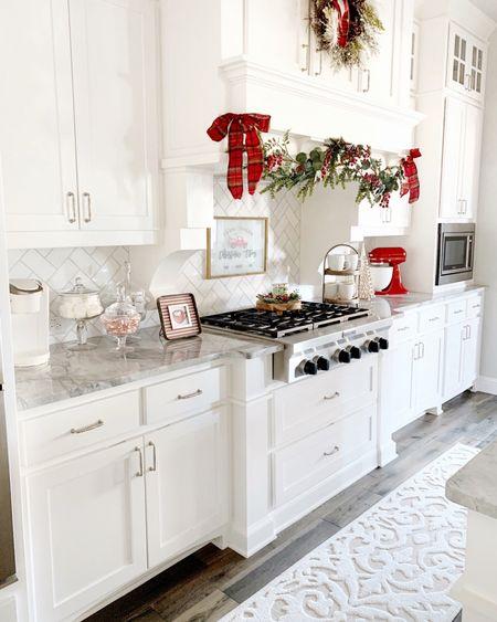 Christmas decor kitchen garland wreath red kitchenaid mixer   #LTKGiftGuide #LTKSeasonal #LTKHoliday