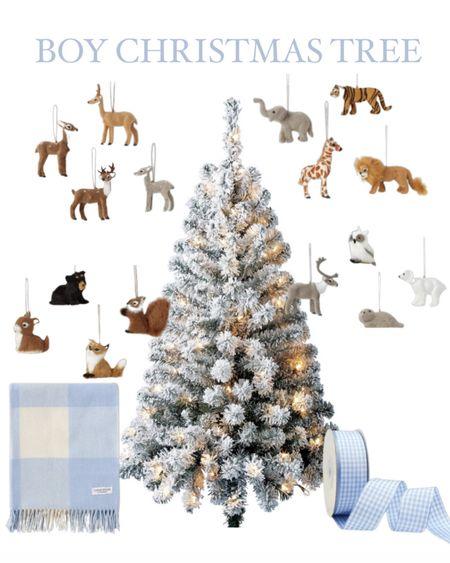 Boy Christmas Tree! This is the best $27 pre-lit 4 foot tree!   Baby boy tree #christmastree #babyboys #boys #ornaments #christmasornaments #christmas #flockedtree   #LTKSeasonal #LTKHoliday #LTKGiftGuide