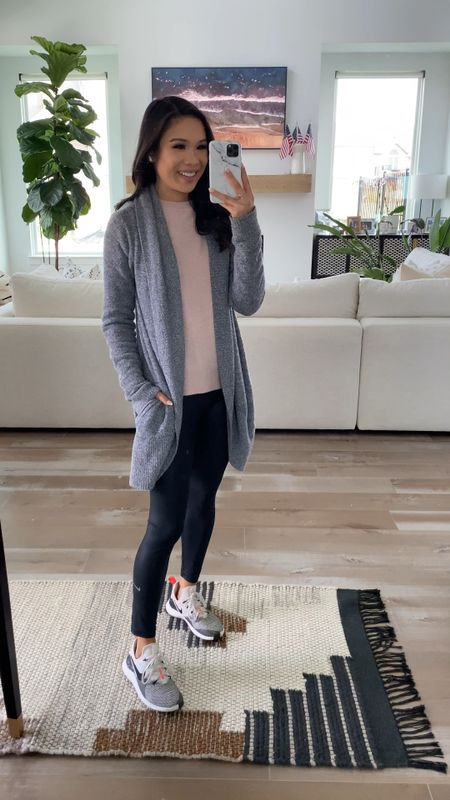 Barefoot dreams cardigan part of the nordstrom anniversary sale! Love how this is super soft, cozy and the quality is great. Holds up well in the washing machine and still ultra soft. Fits true to size. Pairing with a VINCE cashmere sweater, Nike faux leather leggings and sneakers. Everything fits true to size.   #LTKsalealert #LTKstyletip