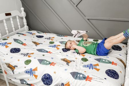 The perfect rocket/space theme duvet cover with the most incredible comforter insert. The comforter insert is thick, soft, cozy and such great quality for an amazing price. We ordered the twin size in both.   #LTKhome #LTKunder100 #LTKfamily
