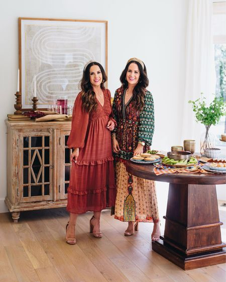 Solid or printed - which new fall maxi dress is your fave? #ad We are SO excited to partner with @anthropologie today to share all about their holiday hosting items like platters, utensils, cups, bowls, vases & more that are 20% OFF today only! Our gorgeous fall hued dresses and initial necklaces are included in our roundup too. Head to TheDoubleTakeGirls.com for our Top 10 must have items for the perfect holiday party. From cheeseboards and candles to table runners and cake stands - Anthropologie is your one stop shop for getting ready for the holidays! Items shown here start at just $20! Plus spend only $50 or more to get free shipping. All of these items would make perfect gifts too. P.S. Head to our IG stories for a better look at our fall tablescape, dresses and more! #anthropartner #myanthropologie