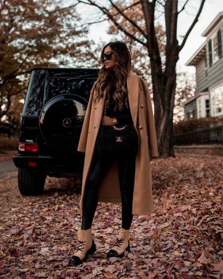 Casual fall outfit  Similar camel coat Commando Faux Leather Leggings  Chanel combat boots (linking similar white combat boots and beige combat boots)  #LTKstyletip #LTKunder100 #LTKshoecrush
