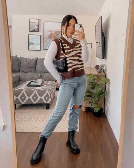 Get 15% off SHEIN with code: Q3YGJESS  Sweater vest, fall boots, long sleeve mock neck top, blue jeans, fall outfit, fall style, baguette bag   #LTKSeasonal #LTKshoecrush #LTKunder50