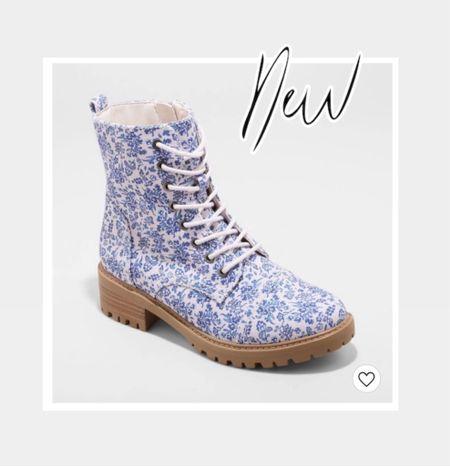Combat boots, floral, blue & white, Target shoes, Target finds   #LTKstyletip #LTKunder50 #LTKshoecrush