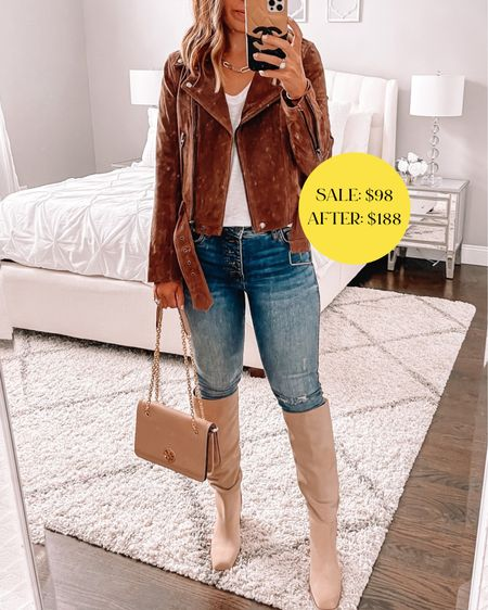 Call Staples Moto jacket from the Nordstrom sale still in stock! Wearing size small. This is one of my favorites ever!! Tall knee-high boots half size up I love the square toe!   #LTKsalealert #LTKshoecrush #LTKstyletip