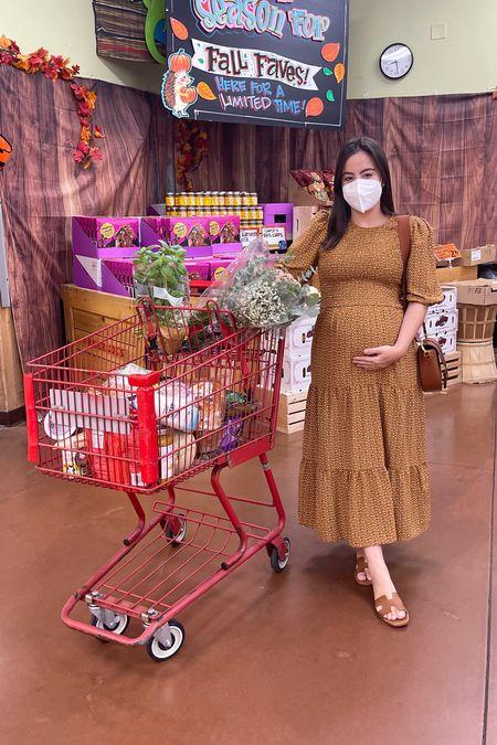 Cutest smocked dress, perfect fall print and maternity friendly     #LTKbump #LTKunder100 #LTKSeasonal