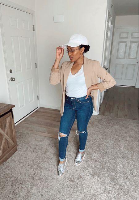 #cap #hat #tiedye #white #neutral #jeans #distressed #oxfords #denim #blazer #beige #tan #pants #casual #workcasual #work  #LTKworkwear #LTKstyletip #LTKunder100