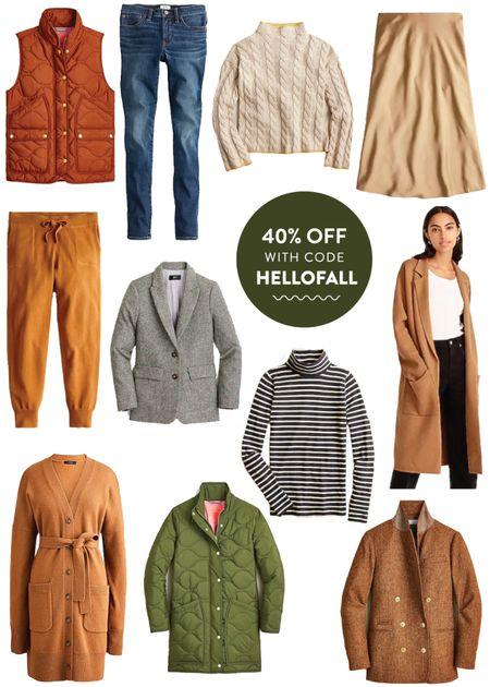 I.Crew Labor Day Sale—use code HELLOFALL for 40% off! Sweater blazer, puffer coat, slip skirt, puffer vest   #LTKsalealert #LTKSeasonal #LTKunder100