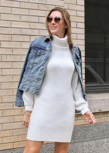 Denim jackets and cozy dresses = perfect fall combo. | #turtleneckdress #trenchcoat #workwear #workoutfit #workinspo #officeoutfit #officeinspo #wintercoats #winterjackets #bestsellers #falldresses #cozydresses #seasonaldresses #JaimieTucker  #LTKSeasonal #LTKstyletip