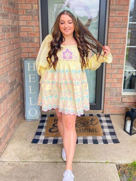Loveshackfancy dress Easter dress spring outfit cottage core superga sneakers lele Sadoughi headband BFB hair extensions   #LTKstyletip #LTKtravel #LTKSeasonal