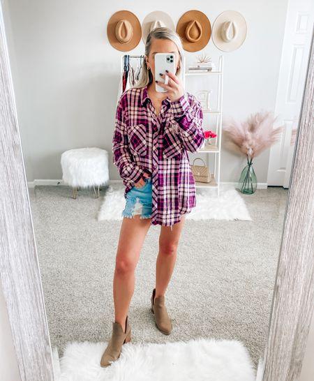 SALE ALERT 🚨 my flannel is on sale for under $40! I'm wearing a small  . . . Flannel, plaid top, fall outfits, fall style   #LTKunder50 #LTKsalealert #LTKSeasonal