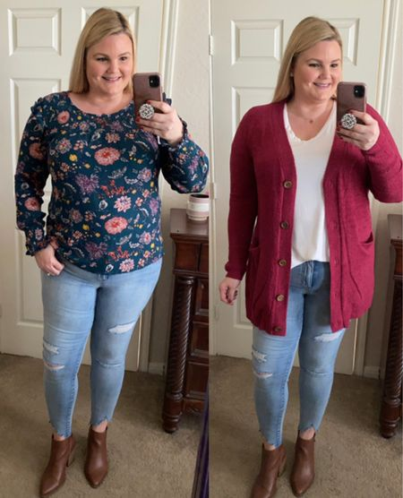 Grace and Lace new fall items! Fall floral long sleeve blouse, soft grandpa cardigan, white v neck tee and distressed skinny jeans/jeggings. Everything fits true to size but size down in the white tee. Wearing XL in everything. Save 15% with code EMILY15.   #LTKsalealert #LTKSeasonal #LTKworkwear
