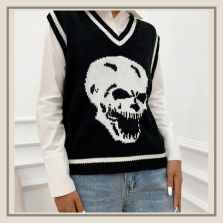 Skeleton print sweater vest  #LTKunder100 #LTKunder50 #LTKstyletip