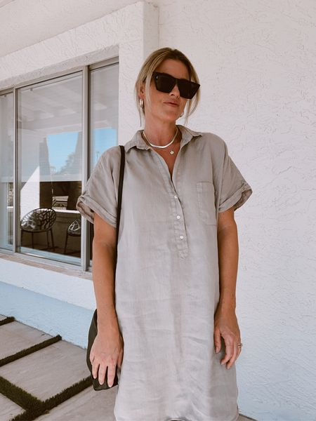 This linen dress is not just for summer. I'm excited to wear it over pleather leggings with boots! Use code ERICAREID for $25 off Grayson purchases. #linen #linendress #dresses #grayson #womanowned #silverjewelry #hoops #necklaces #jewelry #amazonfinds       #LTKstyletip