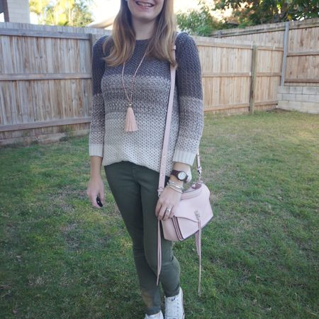 Olive and blush 💚💕 Not very inventive when it comes to pink and green together, most of the time I go for blush and olive!  I liked the little extra colour the blush tassel necklace and peony pink Rebecca Minkoff small Darren Messenger bag  added to the brown and cream ombre knit and olive jeans outfit.  Cosy and comfortable for working from home and taking a late lunch to watch my son get an award at school 💕  -----------------   ---------------- -----------------  ----------------- ----------------  Screenshot this pic to shop the product details from the @liketoknow.it app, or click here: http://liketk.it/3hywy #liketkit #LTKitbag #bagoftheday #RebeccaMinkoff #myRM #rebeccaMinkofffDarren #winterstyle #everydaystyle #realeverydaystylepic #everythingLooksBetterWithABag #wearedonthestreet #nevervainalwayscolour